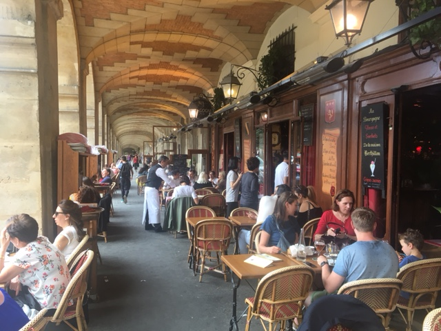 Cafe at Place des Vosges (the oldest planned square in Paris)